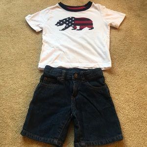 Boys 2T denim shorts & T-shirt